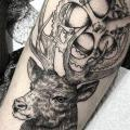 Gear Leg Dotwork Deer tattoo by Sacred Art Tattoo