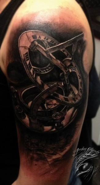 Shoulder Compass Tattoo by Sacred Art Tattoo