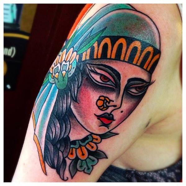 Shoulder New School Gypsy Tattoo by Sacred Art Tattoo