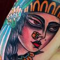 Shoulder New School Gypsy tattoo by Sacred Art Tattoo