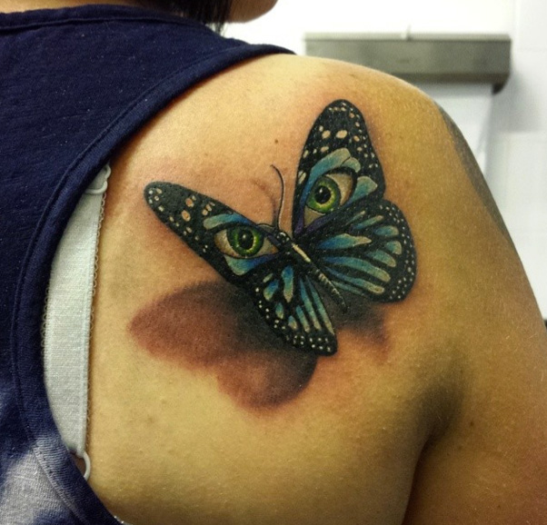 Shoulder Realistic Butterfly Tattoo by Sacred Art Tattoo