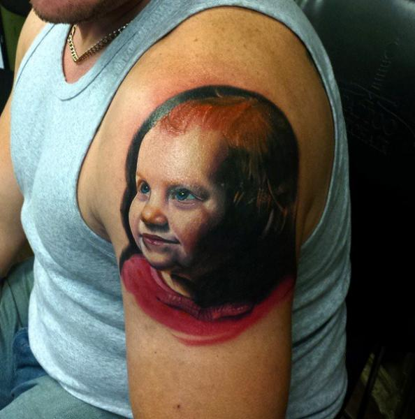 Shoulder Portrait Realistic Children Tattoo by Sacred Art Tattoo