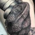 Thigh Chameleon Hat tattoo by Sacred Art Tattoo