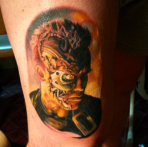 Fantasy Thigh Terminator Tattoo by Sacred Art Tattoo