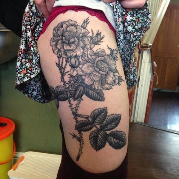 Flower Dotwork Thigh Tattoo by Sacred Art Tattoo