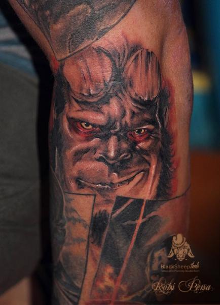 Arm Fantasy Hellboy Tattoo by Blacksheep Ink