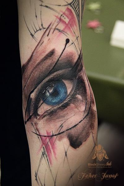 Arm Realistic Eye Tattoo by Blacksheep Ink