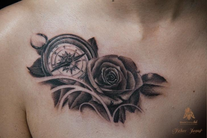 Realistic Flower Breast Rose Compass Tattoo By Blacksheep Ink
