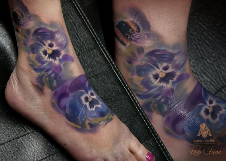 Realistic Foot Flower Tattoo by Blacksheep Ink