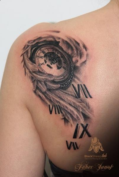 Shoulder Clock Feather Tattoo by Blacksheep Ink