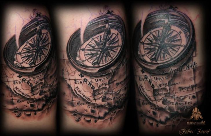 Shoulder Compass Map Tattoo by Blacksheep Ink