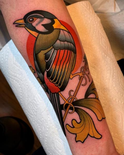 Arm Bird Tattoo by Dave Wah