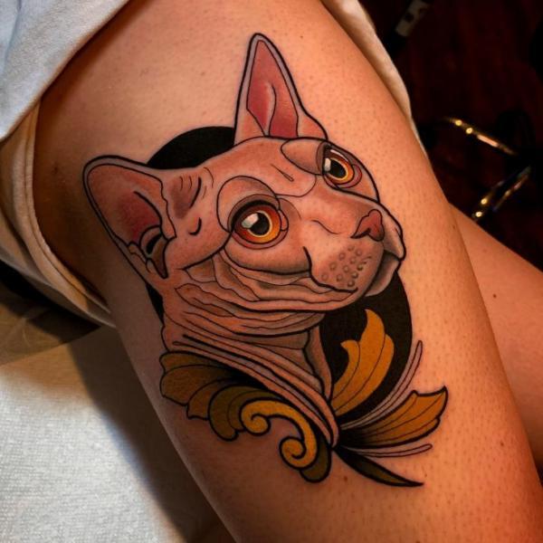 Tatuaggio Braccio Gatto di Dave Wah