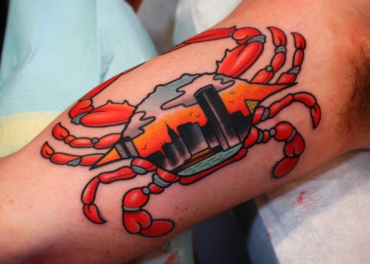 Tatuaggio Braccio Granchio di Dave Wah