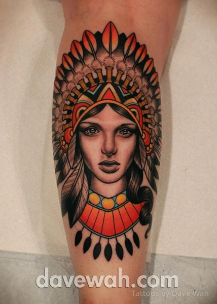 Arm Indian Tattoo by Dave Wah