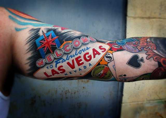 Arm Las Vegas Tattoo by Dave Wah