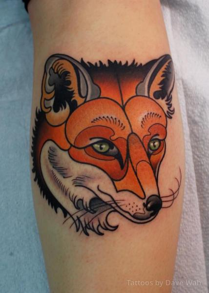 Arm New School Fox Tattoo by Dave Wah