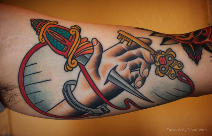 Arm Old School Hand Dagger Key Tattoo by Dave Wah