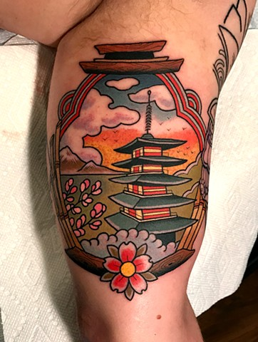 Arm Pagoda Tattoo by Dave Wah