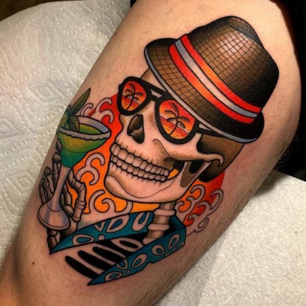 Tatuaje Brazo Esqueleto Sombrero por Dave Wah