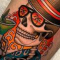 Arm Skeleton Hat tattoo by Dave Wah