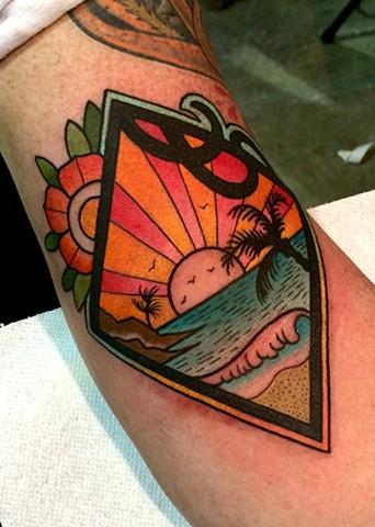 Tatuaje Brazo Mar Puesta De Sol por Dave Wah