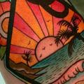 Arm Sea Sunset tattoo by Dave Wah
