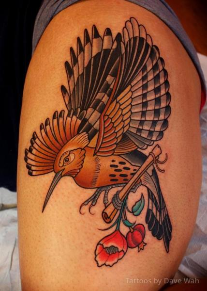 Shoulder Bird Tattoo by Dave Wah