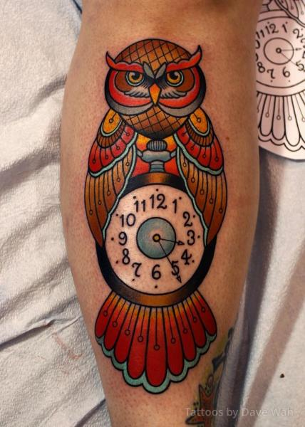 Clock New School Calf Owl Tattoo by Dave Wah