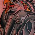 Chest Elephant Eagle tattoo by Dave Wah