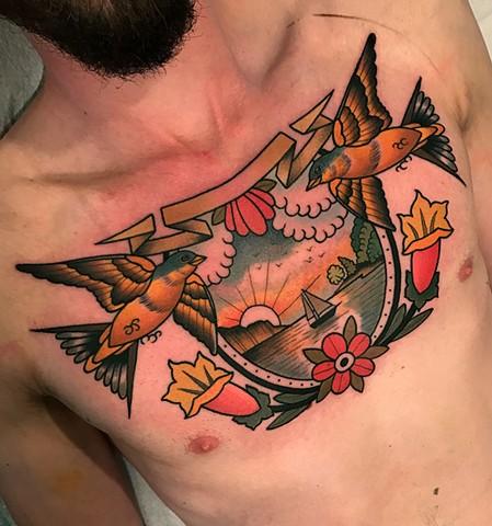 Chest Flower Bird Landscape Tattoo by Dave Wah
