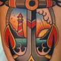 Leuchtturm Bein Anker tattoo von Dave Wah