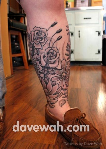 Calf Leg Flower Dotwork Tattoo by Dave Wah