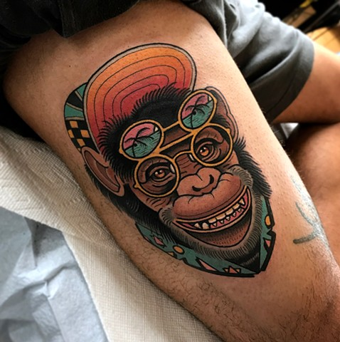 Leg Monkey Cap Tattoo by Dave Wah