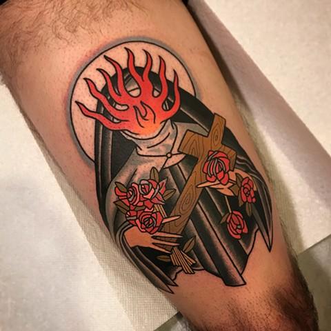 Leg Nun Cross Fire Tattoo by Dave Wah
