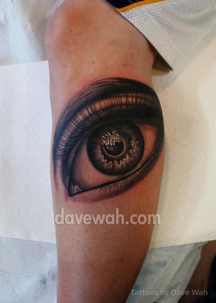 Realistic Leg Eye Tattoo by Dave Wah