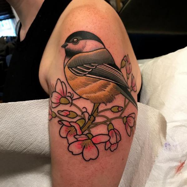 Shoulder Flower Bird Tattoo by Dave Wah