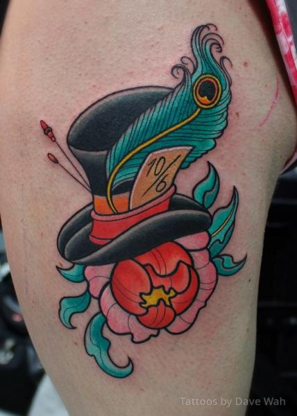 Shoulder Flower Feather Hat Tattoo by Dave Wah