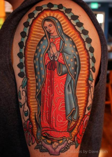 Shoulder Religious Madonna Tattoo by Dave Wah
