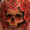Shoulder Flower Skull tattoo by Dave Wah