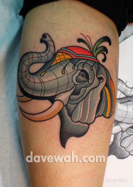 Elephant Thigh Tattoo by Dave Wah