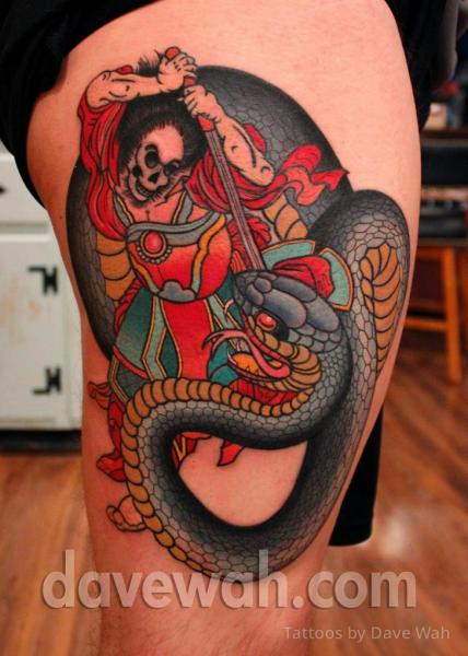 Snake Japanese Samurai Thigh Tattoo by Dave Wah