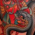 tatuaje Serpiente Japoneses Samurai Muslo por Dave Wah