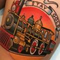 Train Thigh tattoo by Dave Wah