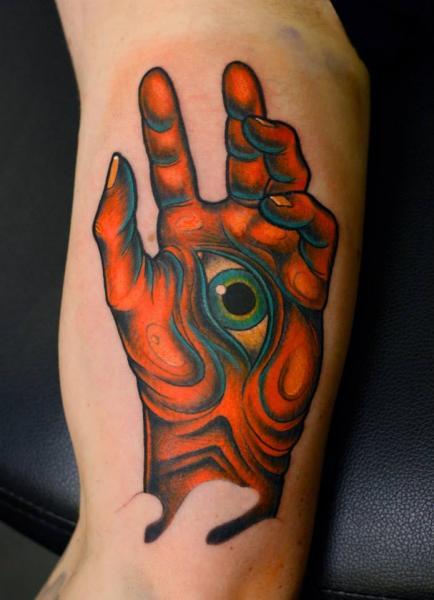Tatuaggio Braccio Mano Occhio di Stefan Semt
