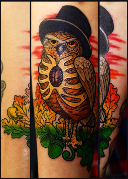 Arm Owl Hat Tattoo by Stefan Semt