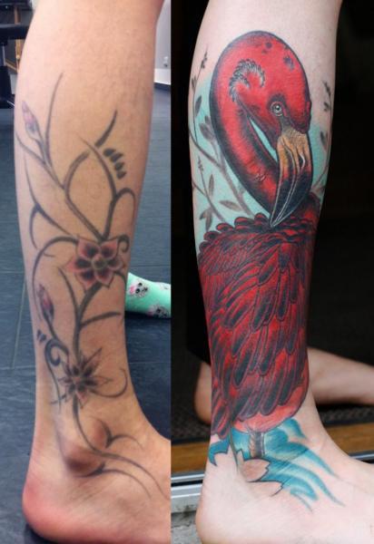 Foot Flamingo Tattoo by Stefan Semt