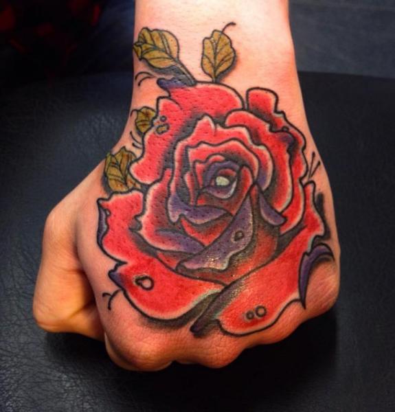 Flower Hand Rose Tattoo by Stefan Semt