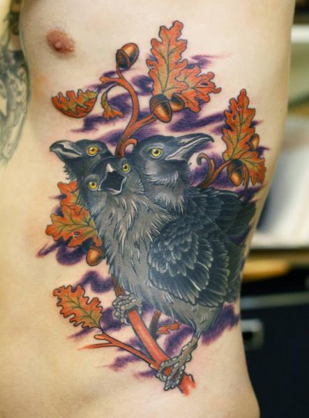 Side Crow Tattoo by Stefan Semt