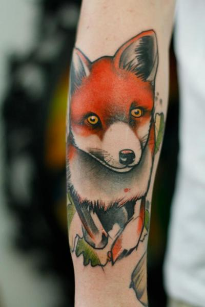 Arm Fox Tattoo by Signs and Wonders